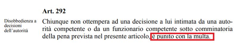 arp 12 minusio, codice penale, articolo 292 cp, giuditta mosca